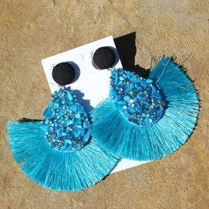 NEW Large Boho Earrings Stone Fan Tassel Post Turq